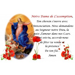 sticker with French  prayer - Our Lady of the Assumption