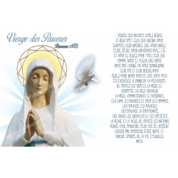 sticker with French  prayer - Virgin of the poor