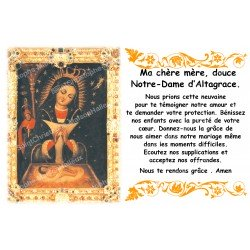 sticker with French  prayer - Our Lady of Altagrace
