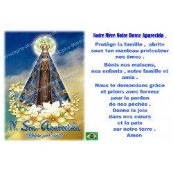 sticker with French  prayer - Our Lady of Aparecida