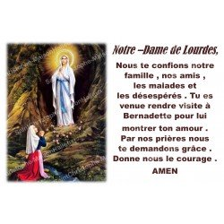 sticker with French  prayer - Our Lady of Lourdes