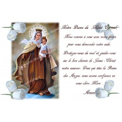 sticker with French  prayer - Our Lady of Mount Carmel 2