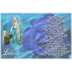 sticker with French  prayer - our lady from Lourdes 3