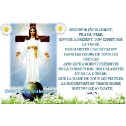 sticker with French  prayer - Our Lady of All Peoples