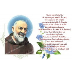 sticker with French  prayer - padre pio
