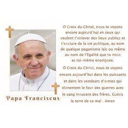 sticker with French  prayer - Pope Francis 1