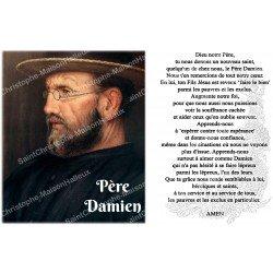 sticker with French  prayer - Father Damien 2