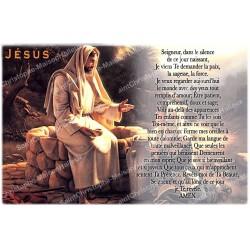 Autocollant bougie de neuvaine avec prière français - Jésus 2
