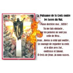 Autocollant bougie de neuvaine avec prière français - Puissance de la Croix