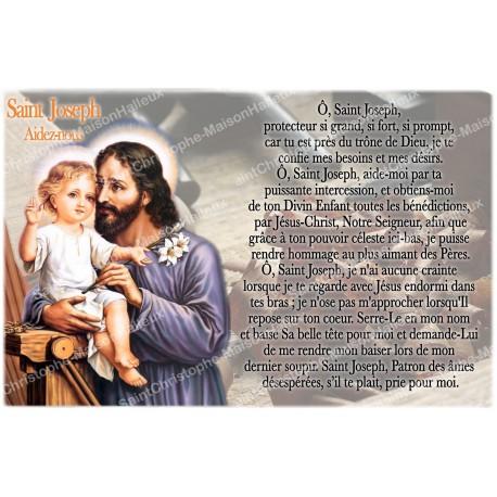 Autocollant bougie de neuvaine avec prière français - Saint Joseph aidez-nous