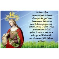 Autocollant bougie de neuvaine avec prière français - Sainte Agnes