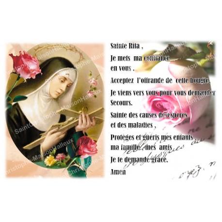 Autocollant bougie de neuvaine avec prière français - Sainte Rita 3
