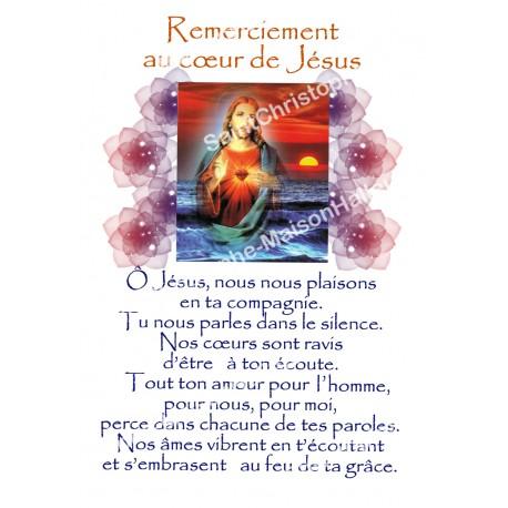"""Autocollants Rectangulaires - """"Remerciement au coeur de Jésus"""" - 8 pièces - Français"""