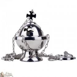 Encensoir croix à supsendre métal couleur argenté