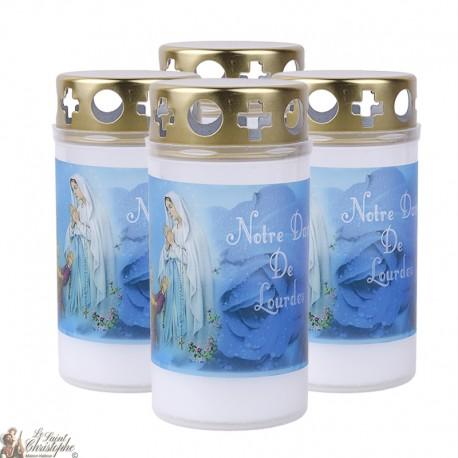 Bougies d'extérieur avec l'Apparition de Lourdes - couvercle
