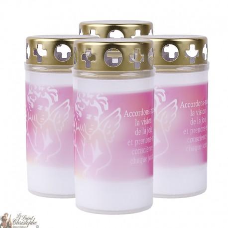 Bougies d'extérieur avec Ange rose - couvercles