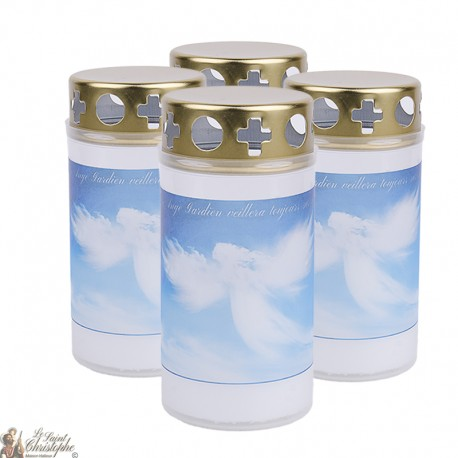 Outdoor candles with Blue Angel - covers - French prayer