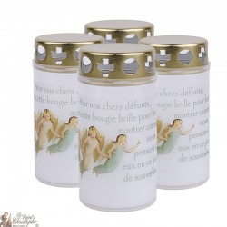 Bougies d'extérieur avec Anges - couvercles - prière français
