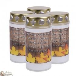 Bougies d'extérieur avec feuilles Automne - couvercles - prière français