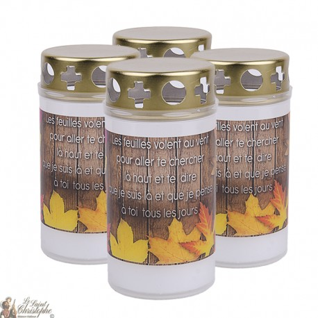 Outdoor candles with autumn leaves - covers - French prayer