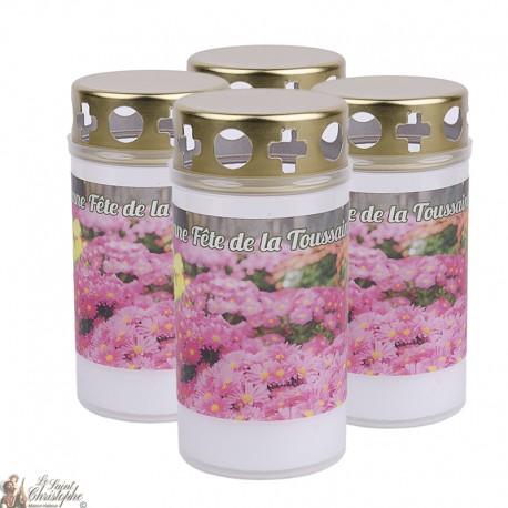 Bougies d'extérieur Toussaint - couvercles - prière français
