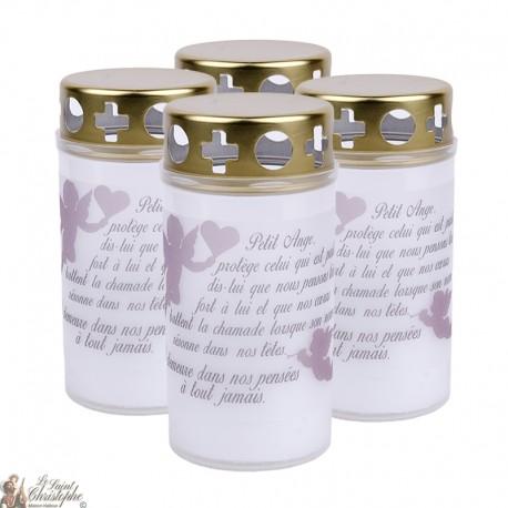 Bougies d'extérieur avec Ange coeur - couvercles - prière français