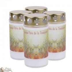 Bougies d'extérieur pour Toussaint - couvercles - prière français