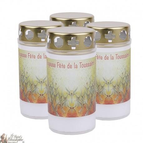 Bougies d'extérieur avec Ange rose - couvercles - prière français