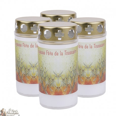 Outdoor candles pink angel for cemeteries - French prayer