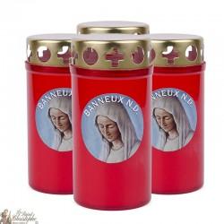 Bougies d'extérieur rouge avec La Vierge Marie de Banneux - couvercles