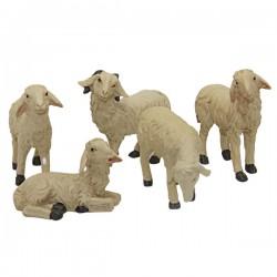 Moutons pour crèche de Noël Set de 5 Pièces