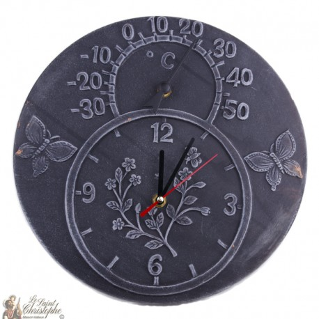Clock and thermometer in Terracotta