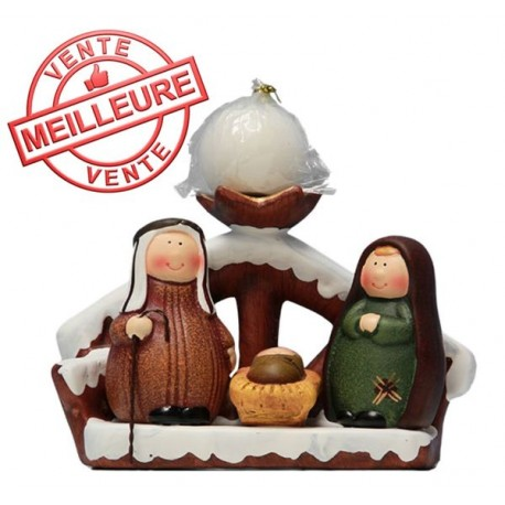 Holy Family Nativity Candleholder Terracotta