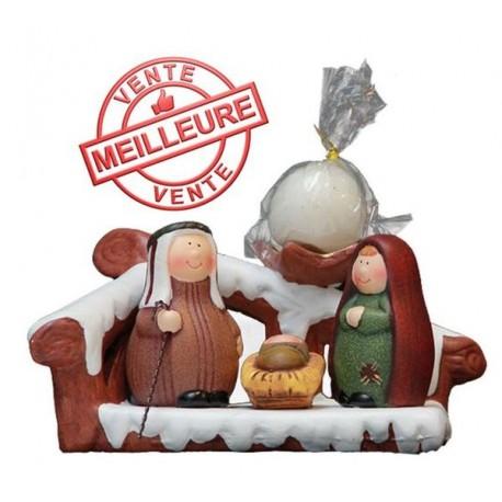 Holy Family Nativity Candleholder Terracotta