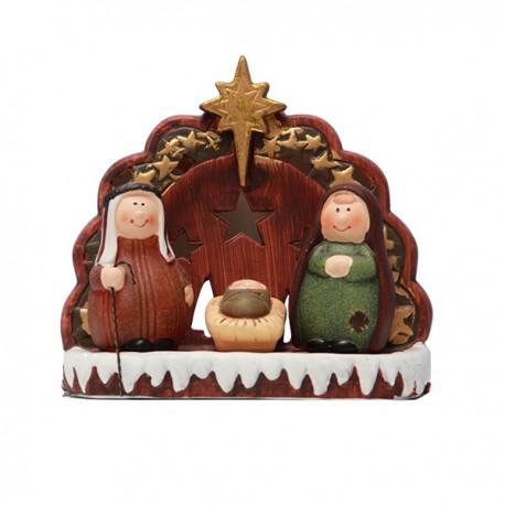 Sainte Famille Nativité bougeoir Terracotta