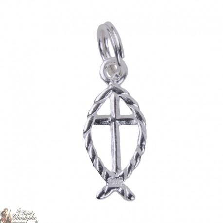 Fish Cross - charm Silver 925