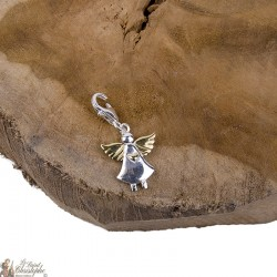 Angel with Gold Wings Pendant Charm - 925 Silver