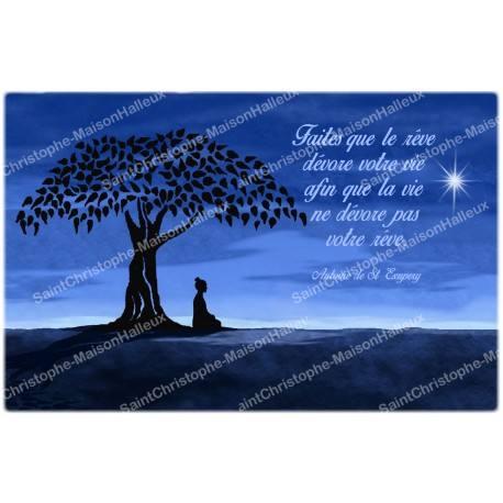 decorative sticker  for  novena candle With citation in French - happiness model 2