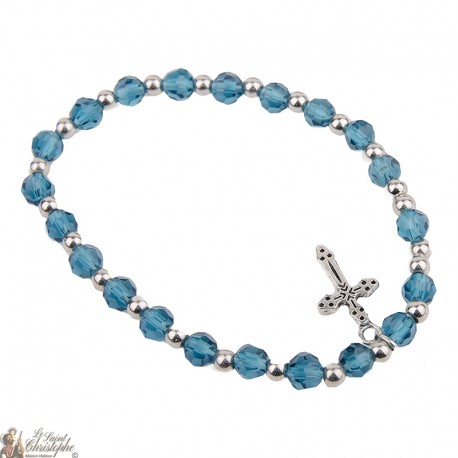 Blue crystal beads bracelet - Cross