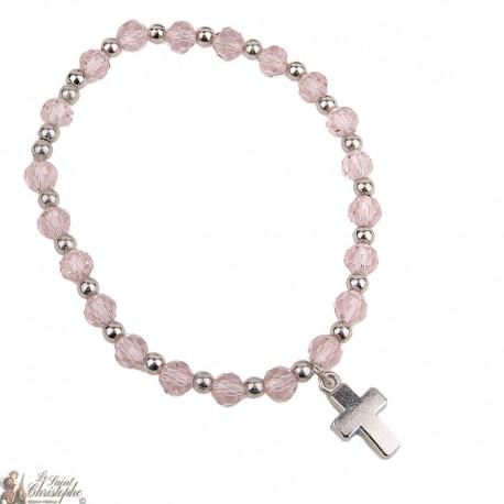 Bracelet perles bleues - Croix