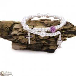 Bracelet perles nacrées - Calice - Roses - Croix