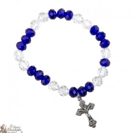 Bracelet perles roses - Croix