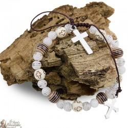Bracelet perles multicolores - Croix