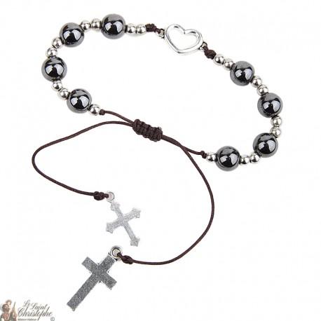 Bracelet perles hématites - coeur et croix