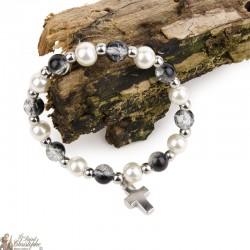 Bracelet perles noires et naturelles - Croix