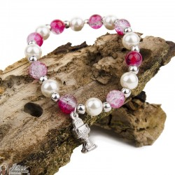 Bracelet multicolor beads - Pink and White - Chalice