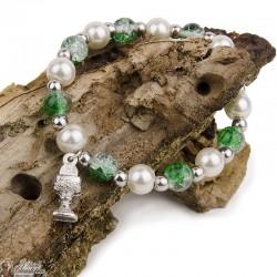 Bracelet perles multicolores - Vertes et Blanches  - Calice