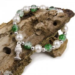Multicolor pearl bracelet - Green and White - Chalice