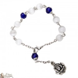 White and Blue Pearl Bracelet - Pink Medal