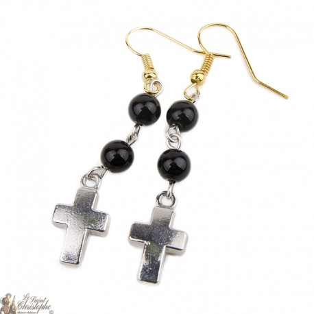Earrings - Cross - Black pendant